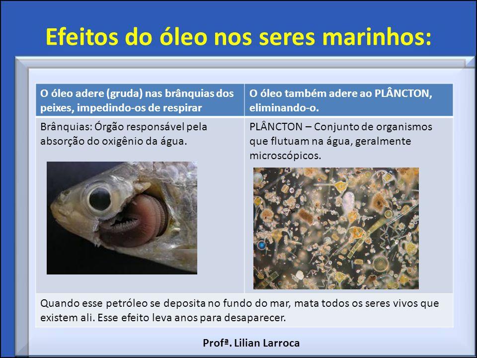 Efeitos do óleo nos seres marinhos: O óleo adere (gruda) nas brânquias dos peixes, impedindo-os de respirar O óleo também adere ao PLÂNCTON, eliminand