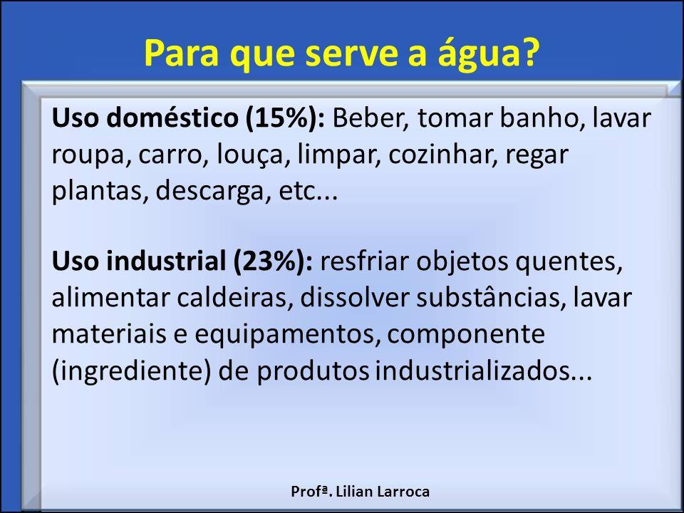 Para que serve a água? Uso doméstico (15%): Beber, tomar banho, lavar roupa, carro, louça, limpar, cozinhar, regar plantas, descarga, etc... Uso indus