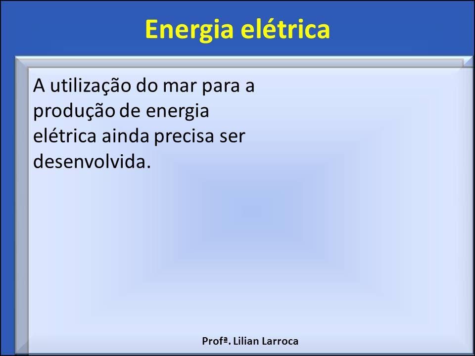 Energia elétrica A utilização do mar para a produção de energia elétrica ainda precisa ser desenvolvida. Profª. Lilian Larroca