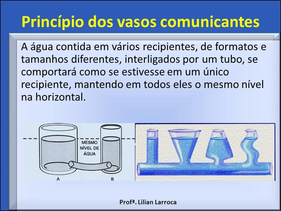Princípio dos vasos comunicantes A água contida em vários recipientes, de formatos e tamanhos diferentes, interligados por um tubo, se comportará como