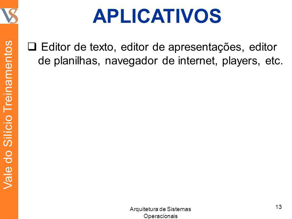 APLICATIVOS Editor de texto, editor de apresentações, editor de planilhas, navegador de internet, players, etc. 13 Arquitetura de Sistemas Operacionai