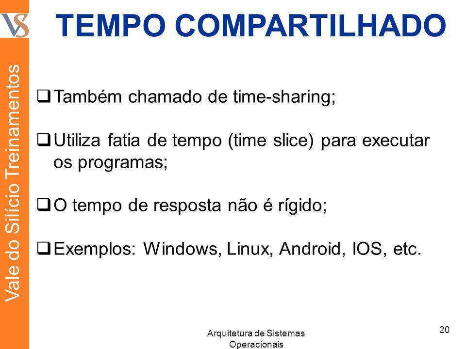 TEMPO COMPARTILHADO Também chamado de time-sharing; Utiliza fatia de tempo (time slice) para executar os programas; O tempo de resposta não é rígido;