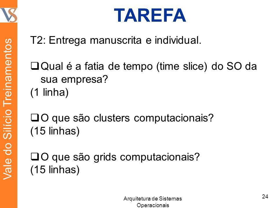 TAREFA T2: Entrega manuscrita e individual. Qual é a fatia de tempo (time slice) do SO da sua empresa? (1 linha) O que são clusters computacionais? (1