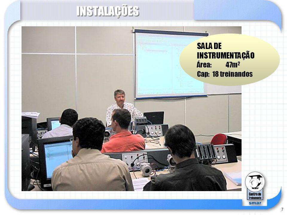 7 INSTALAÇÕES SALA DE INSTRUMENTAÇÃO Área: 47m 2 Cap: 18 treinandos