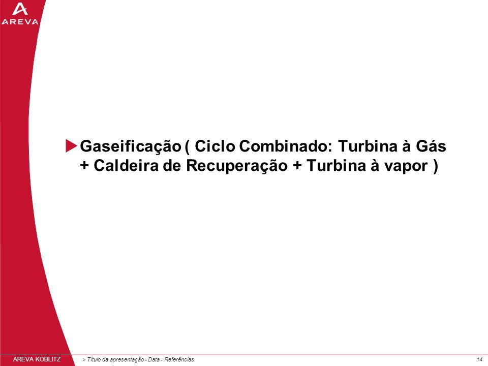 > Título da apresentação - Data - Referências14 AREVA KOBLITZ Gaseificação ( Ciclo Combinado: Turbina à Gás + Caldeira de Recuperação + Turbina à vapor )
