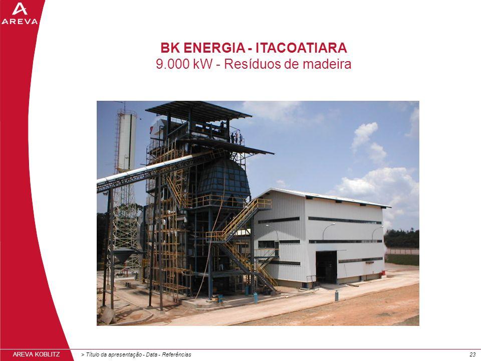 > Título da apresentação - Data - Referências23 AREVA KOBLITZ BK ENERGIA - ITACOATIARA 9.000 kW - Resíduos de madeira