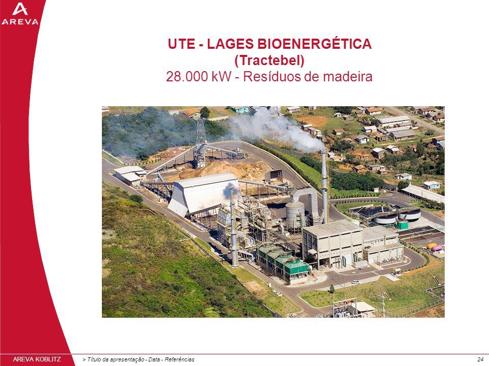 > Título da apresentação - Data - Referências24 AREVA KOBLITZ UTE - LAGES BIOENERGÉTICA (Tractebel) 28.000 kW - Resíduos de madeira