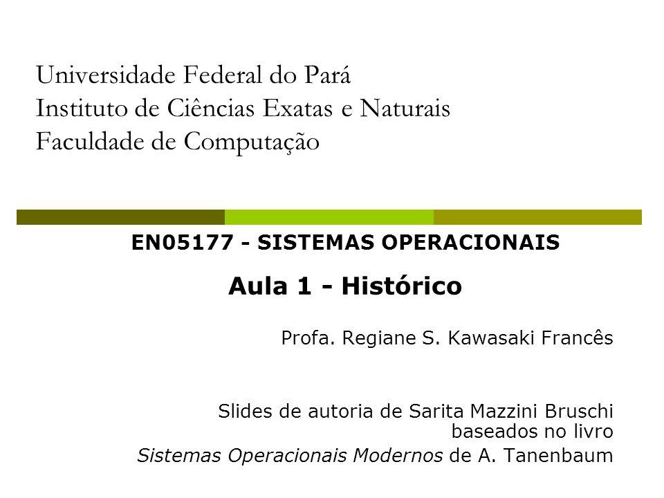 EN05177 - SISTEMAS OPERACIONAIS Aula 1 - Histórico Profa. Regiane S. Kawasaki Francês Slides de autoria de Sarita Mazzini Bruschi baseados no livro Si
