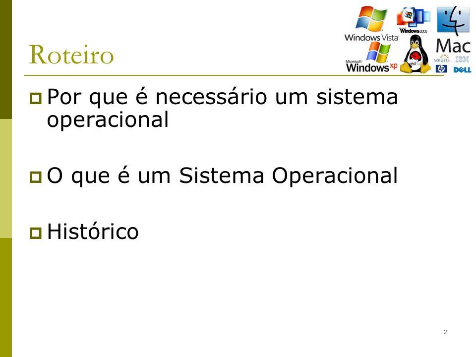 13 Roteiro Por que é necessário um sistema operacional O que é um Sistema Operacional Histórico