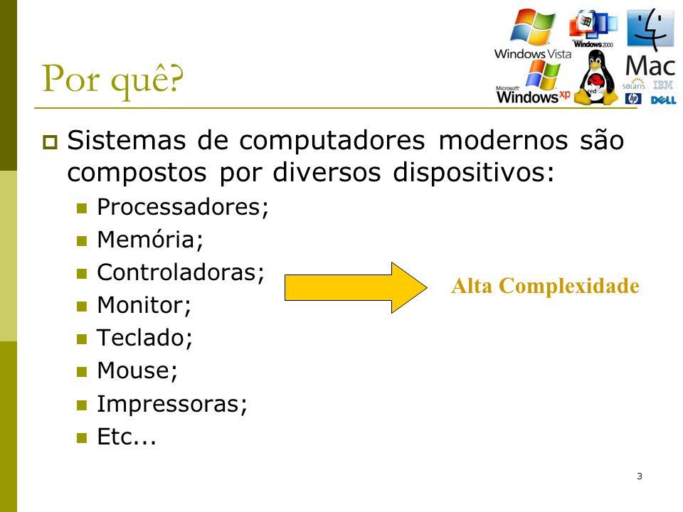 3 Por quê? Sistemas de computadores modernos são compostos por diversos dispositivos: Processadores; Memória; Controladoras; Monitor; Teclado; Mouse;