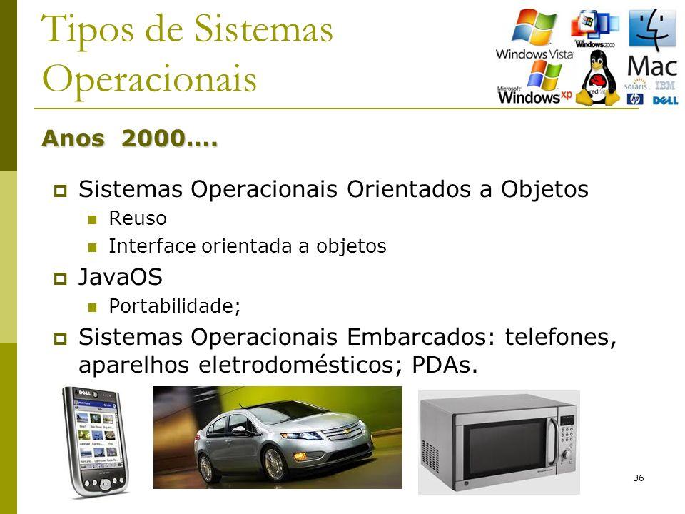 36 Tipos de Sistemas Operacionais Sistemas Operacionais Orientados a Objetos Reuso Interface orientada a objetos JavaOS Portabilidade; Sistemas Operacionais Embarcados: telefones, aparelhos eletrodomésticos; PDAs.