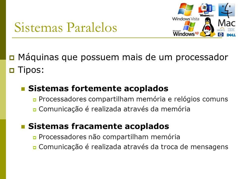 Sistemas Paralelos Máquinas que possuem mais de um processador Tipos: Sistemas fortemente acoplados Processadores compartilham memória e relógios comuns Comunicação é realizada através da memória Sistemas fracamente acoplados Processadores não compartilham memória Comunicação é realizada através da troca de mensagens