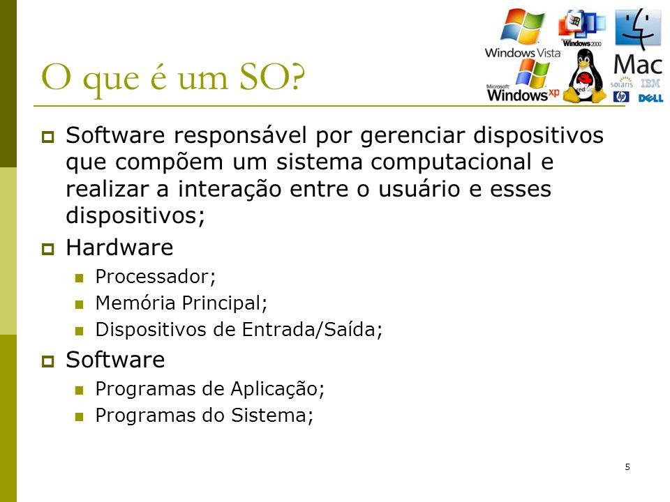5 O que é um SO? Software responsável por gerenciar dispositivos que compõem um sistema computacional e realizar a interação entre o usuário e esses d