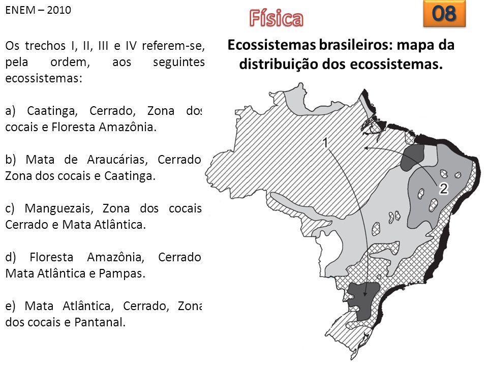 ENEM – 2010 Os trechos I, II, III e IV referem-se, pela ordem, aos seguintes ecossistemas: a) Caatinga, Cerrado, Zona dos cocais e Floresta Amazônia.