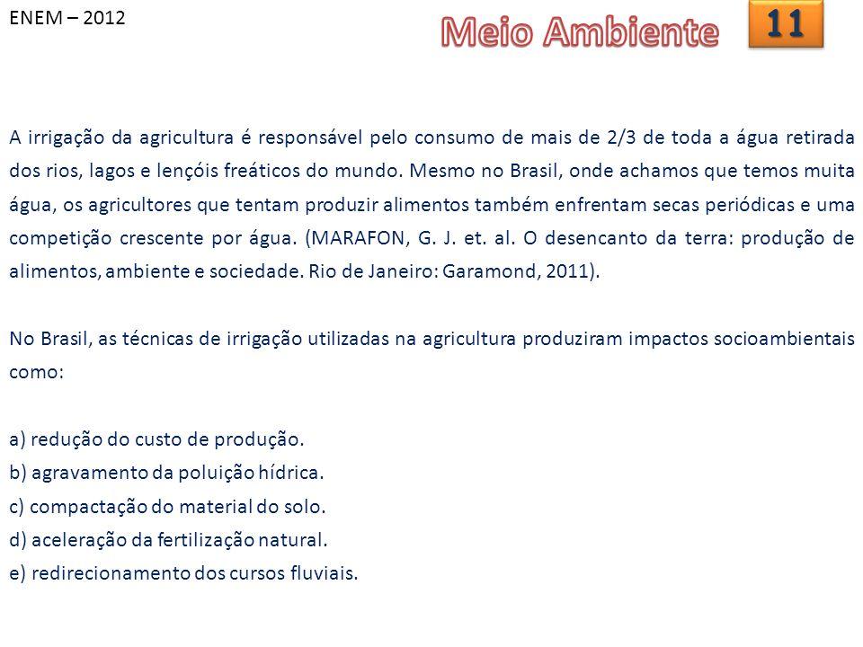 ENEM – 20121111 A irrigação da agricultura é responsável pelo consumo de mais de 2/3 de toda a água retirada dos rios, lagos e lençóis freáticos do mundo.
