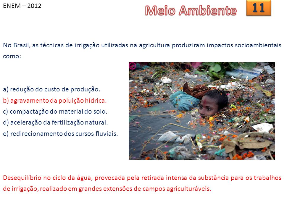 ENEM – 20121111 No Brasil, as técnicas de irrigação utilizadas na agricultura produziram impactos socioambientais como: a) redução do custo de produção.