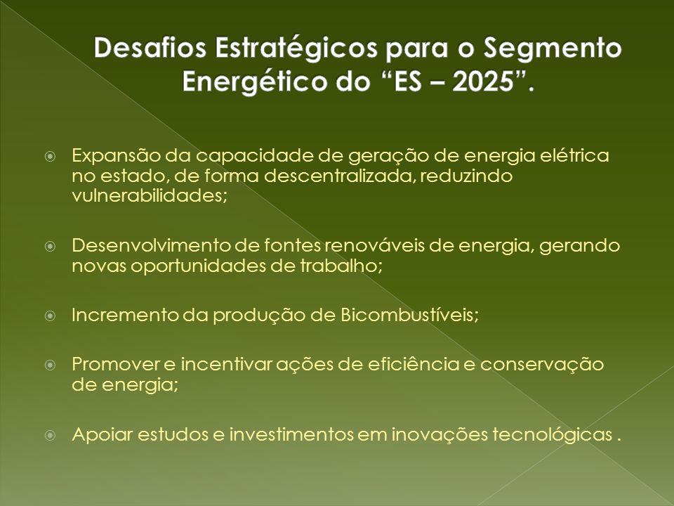 Expansão da capacidade de geração de energia elétrica no estado, de forma descentralizada, reduzindo vulnerabilidades; Desenvolvimento de fontes renov