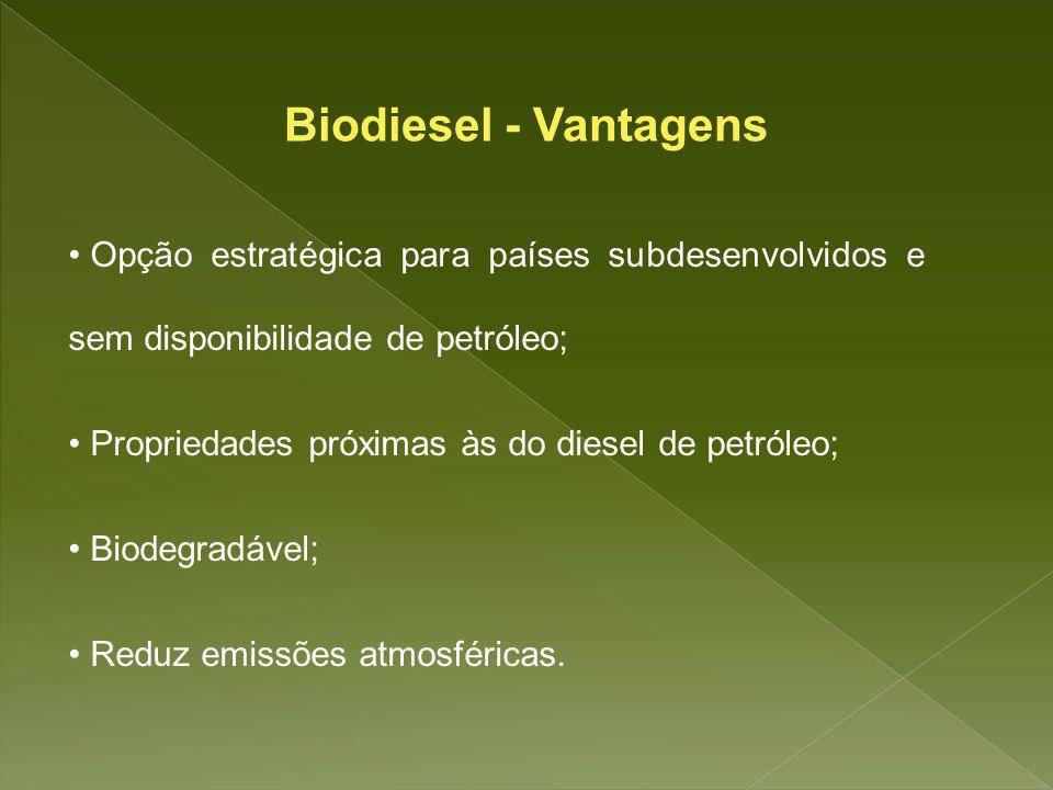 Opção estratégica para países subdesenvolvidos e sem disponibilidade de petróleo; Propriedades próximas às do diesel de petróleo; Biodegradável; Reduz