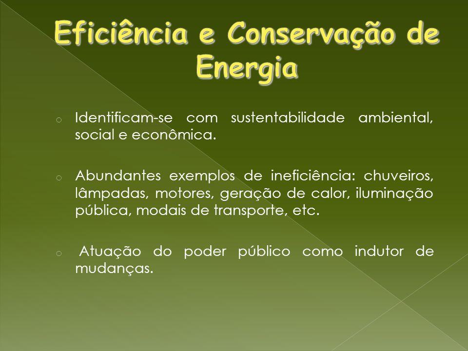 o Identificam-se com sustentabilidade ambiental, social e econômica. o Abundantes exemplos de ineficiência: chuveiros, lâmpadas, motores, geração de c