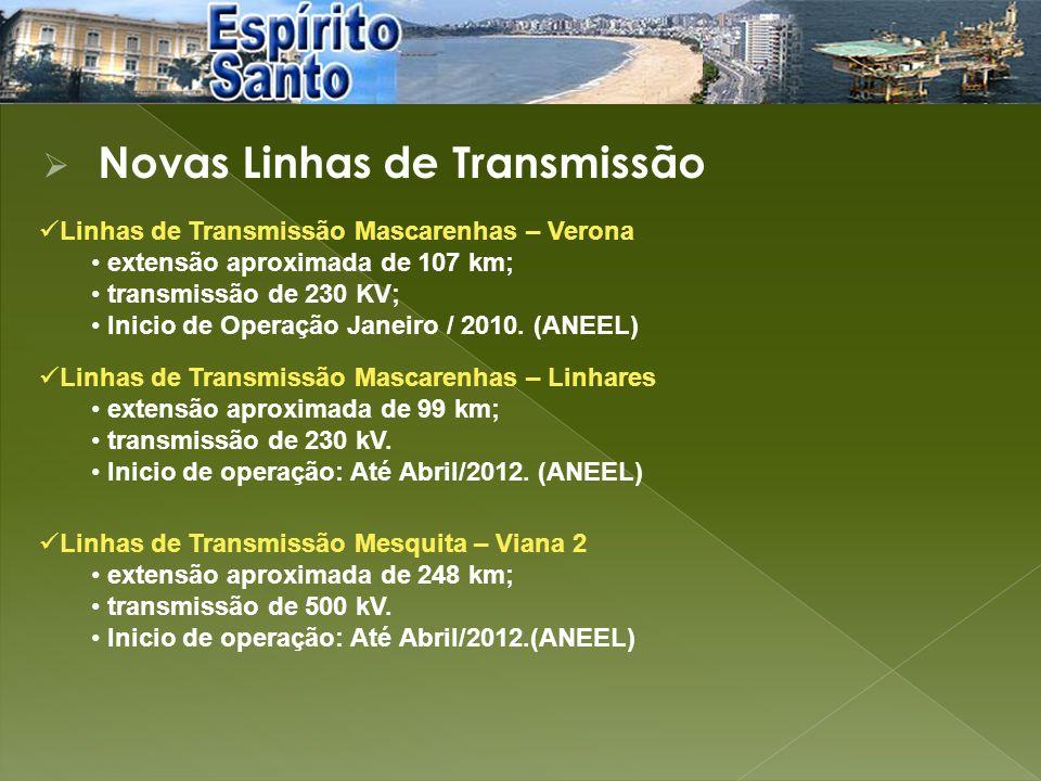 Novas Linhas de Transmissão Linhas de Transmissão Mascarenhas – Linhares extensão aproximada de 99 km; transmissão de 230 kV. Inicio de operação: Até