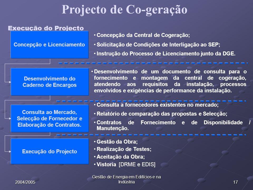 172004/2005 Gestão de Energia em Edifícios e na Indústria Execução do Projecto Desenvolvimento do Caderno de Encargos Consulta ao Mercado, Selecção de Fornecedor e Elaboração de Contratos.
