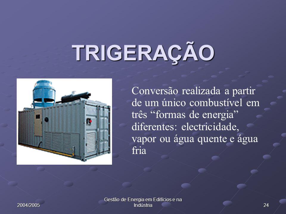 2004/2005 24 TRIGERAÇÃO Conversão realizada a partir de um único combustível em três formas de energia diferentes: electricidade, vapor ou água quente e água fria