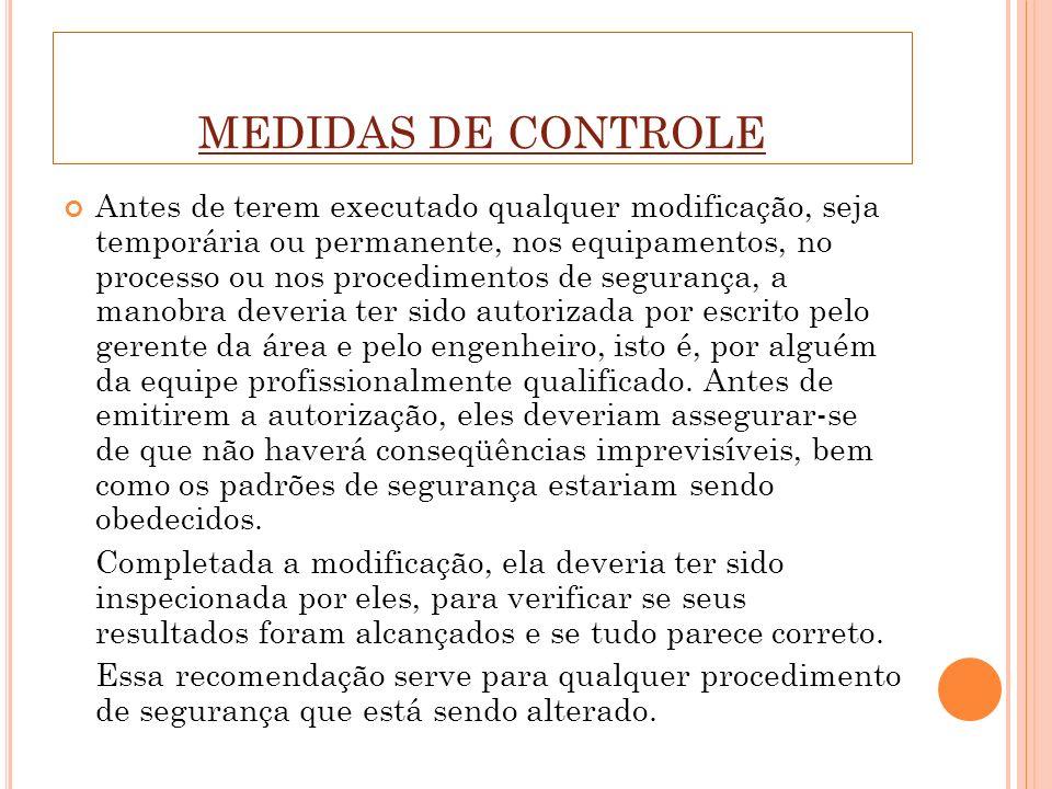 MEDIDAS DE CONTROLE Antes de terem executado qualquer modificação, seja temporária ou permanente, nos equipamentos, no processo ou nos procedimentos d