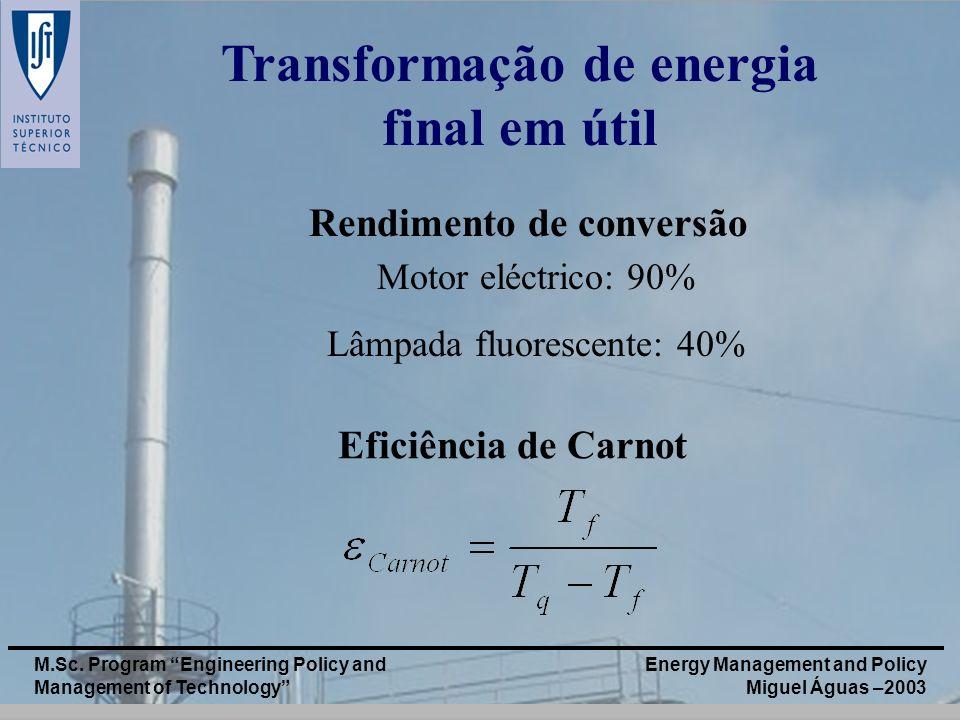 Energy Management and Policy Miguel Águas –2003 M.Sc. Program Engineering Policy and Management of Technology Transformação de energia final em útil E