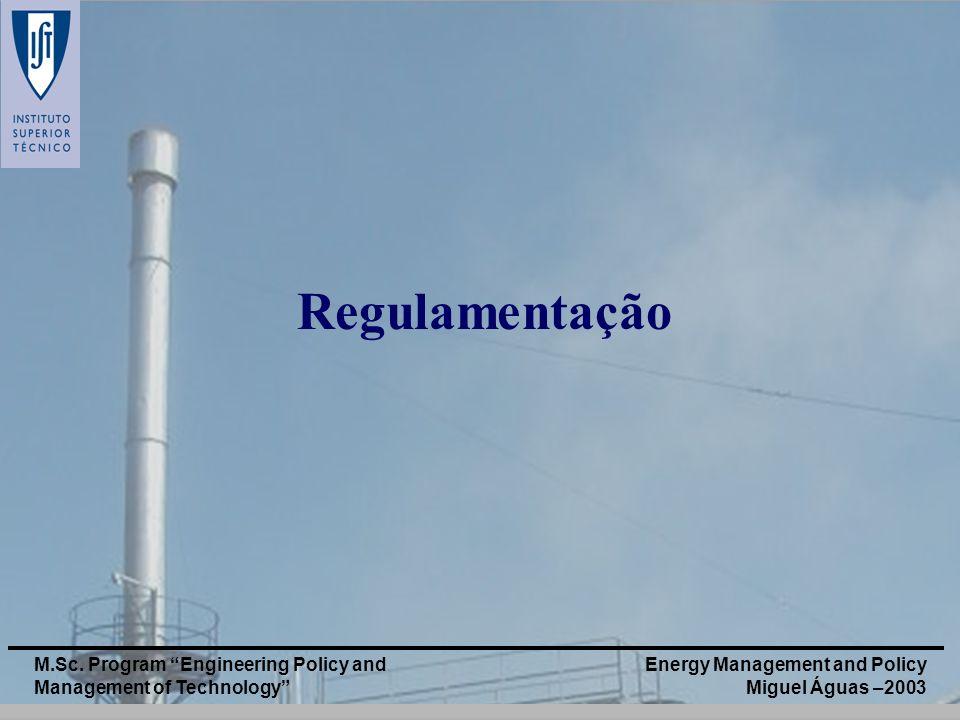 Energy Management and Policy Miguel Águas –2003 M.Sc. Program Engineering Policy and Management of Technology Regulamentação