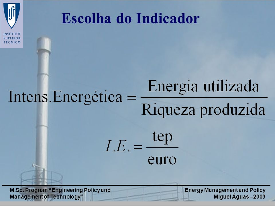 Energy Management and Policy Miguel Águas –2003 M.Sc. Program Engineering Policy and Management of Technology Escolha do Indicador