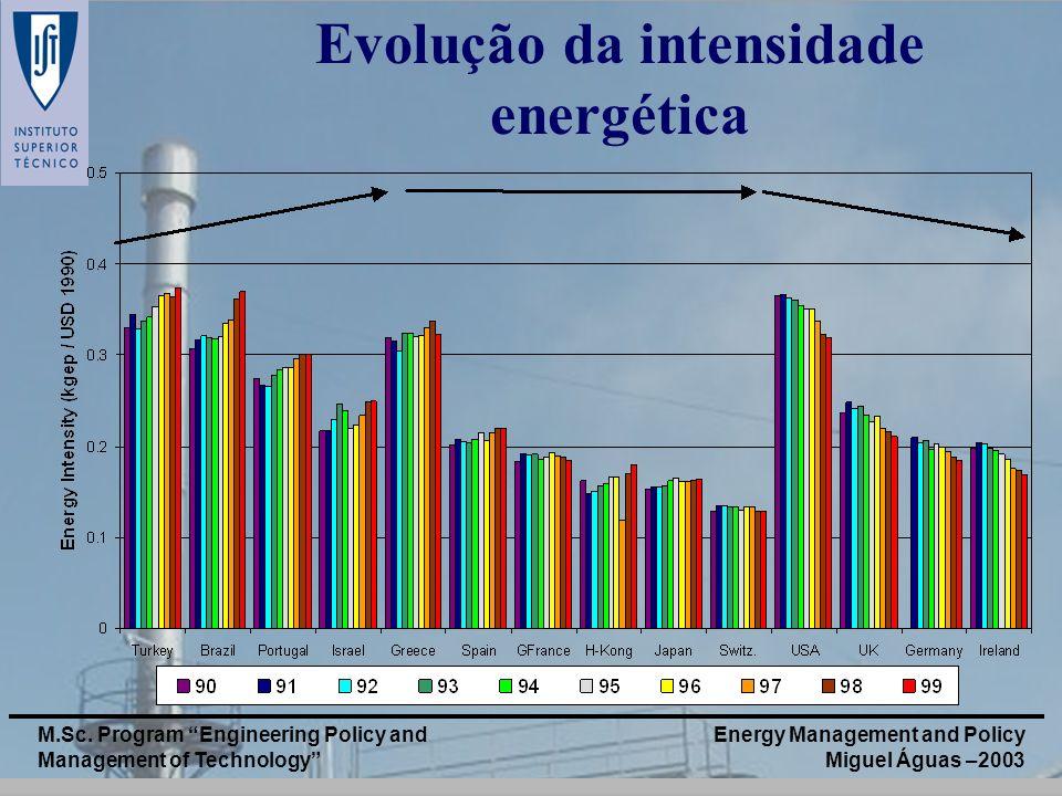 Energy Management and Policy Miguel Águas –2003 M.Sc. Program Engineering Policy and Management of Technology Evolução da intensidade energética