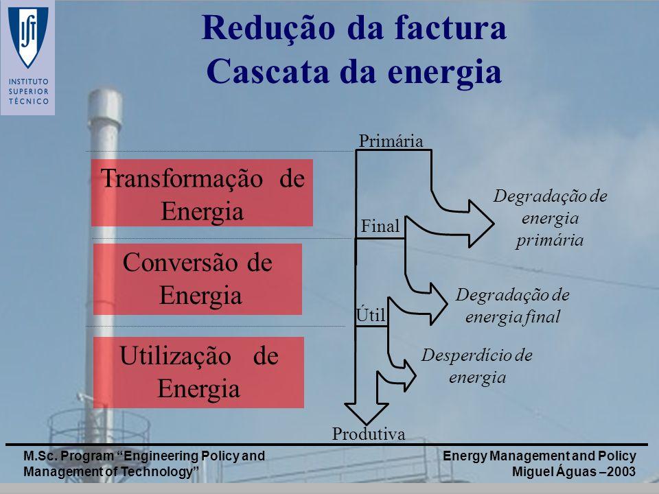 Energy Management and Policy Miguel Águas –2003 M.Sc. Program Engineering Policy and Management of Technology Transformação de Energia Utilização de E