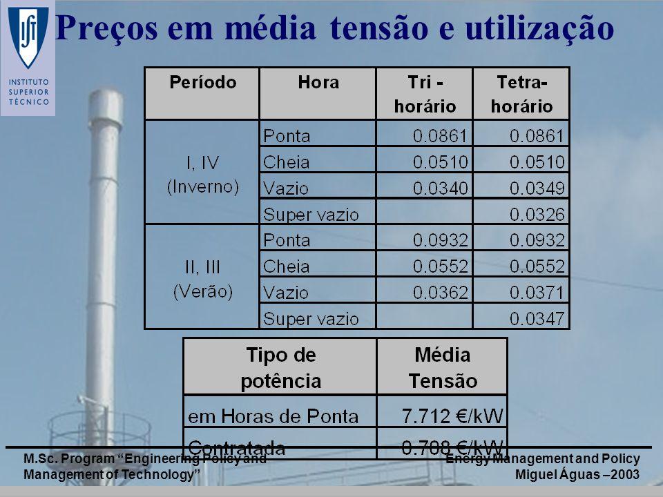 Energy Management and Policy Miguel Águas –2003 M.Sc. Program Engineering Policy and Management of Technology Preços em média tensão e utilização