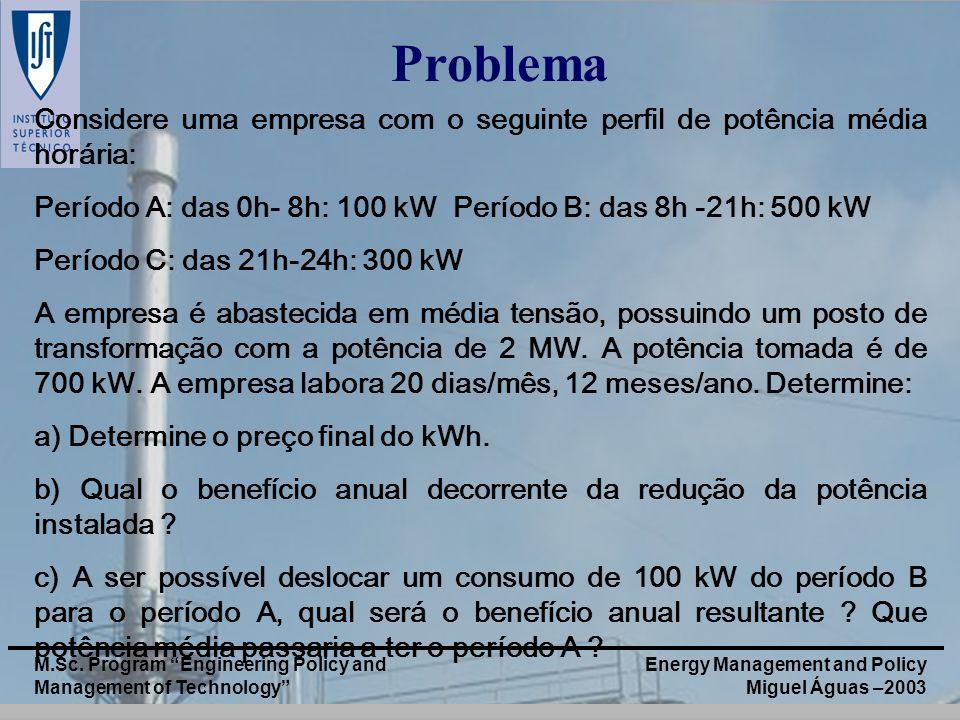Energy Management and Policy Miguel Águas –2003 M.Sc. Program Engineering Policy and Management of Technology Problema Considere uma empresa com o seg