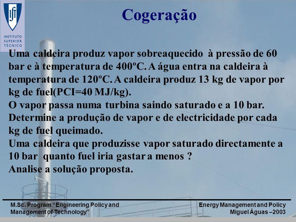 Energy Management and Policy Miguel Águas –2003 M.Sc. Program Engineering Policy and Management of Technology Cogeração Uma caldeira produz vapor sobr