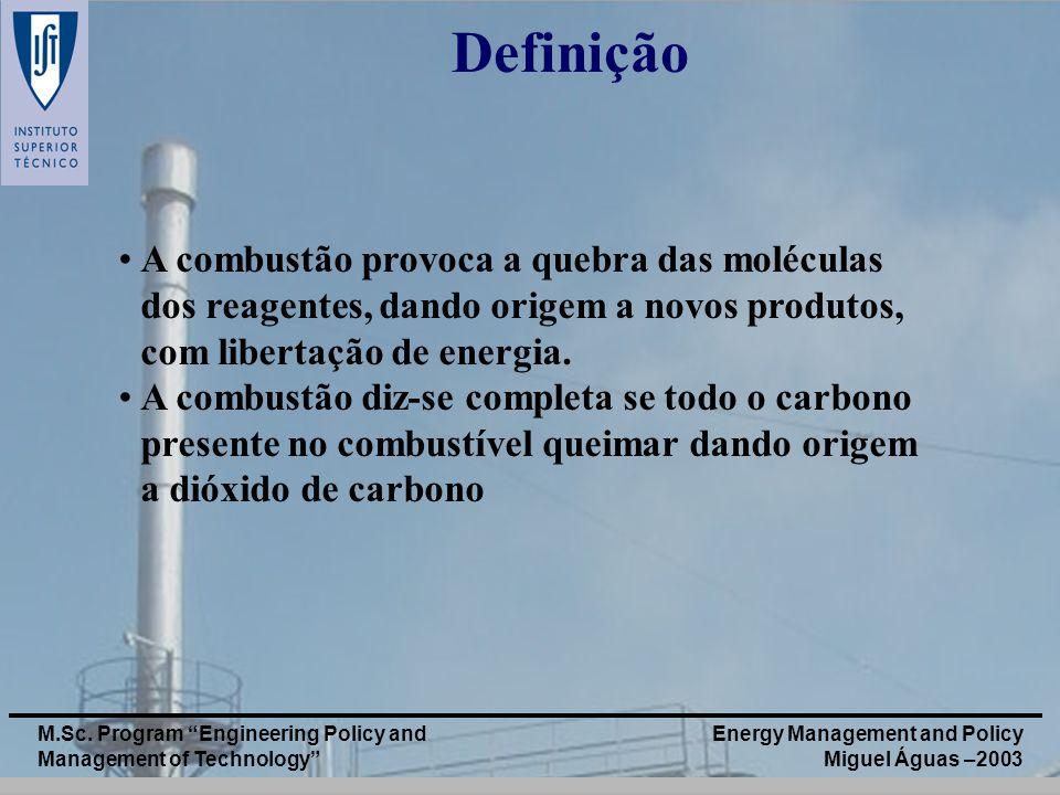 Energy Management and Policy Miguel Águas –2003 M.Sc. Program Engineering Policy and Management of Technology Definição A combustão provoca a quebra d