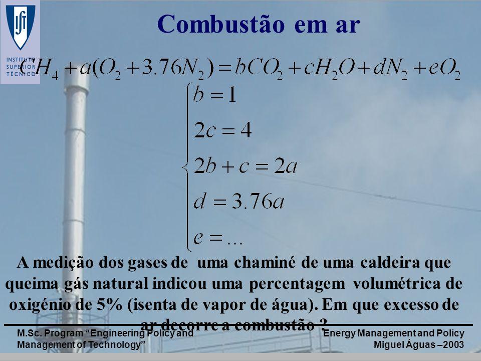 Energy Management and Policy Miguel Águas –2003 M.Sc. Program Engineering Policy and Management of Technology Combustão em ar A medição dos gases de u