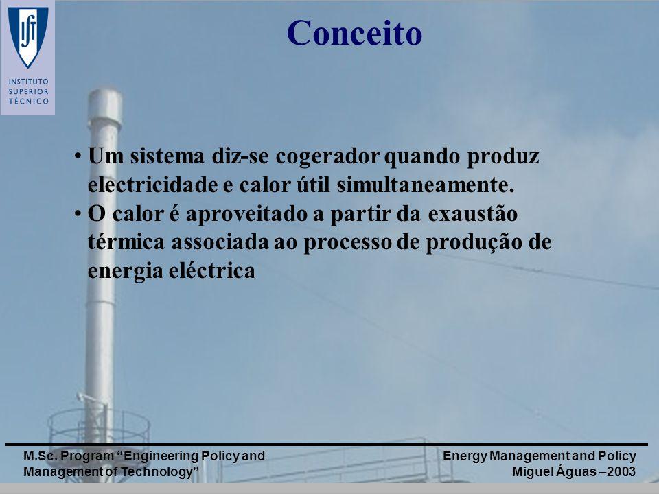 Energy Management and Policy Miguel Águas –2003 M.Sc. Program Engineering Policy and Management of Technology Um sistema diz-se cogerador quando produ