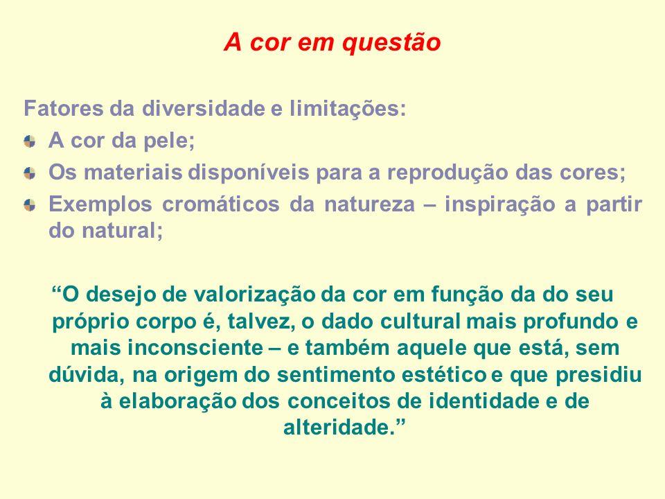A cor em questão Fatores da diversidade e limitações: A cor da pele; Os materiais disponíveis para a reprodução das cores; Exemplos cromáticos da natu