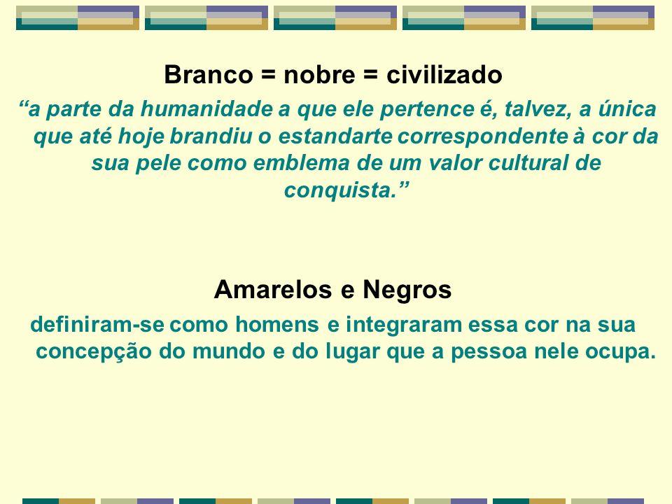 Branco = nobre = civilizado a parte da humanidade a que ele pertence é, talvez, a única que até hoje brandiu o estandarte correspondente à cor da sua
