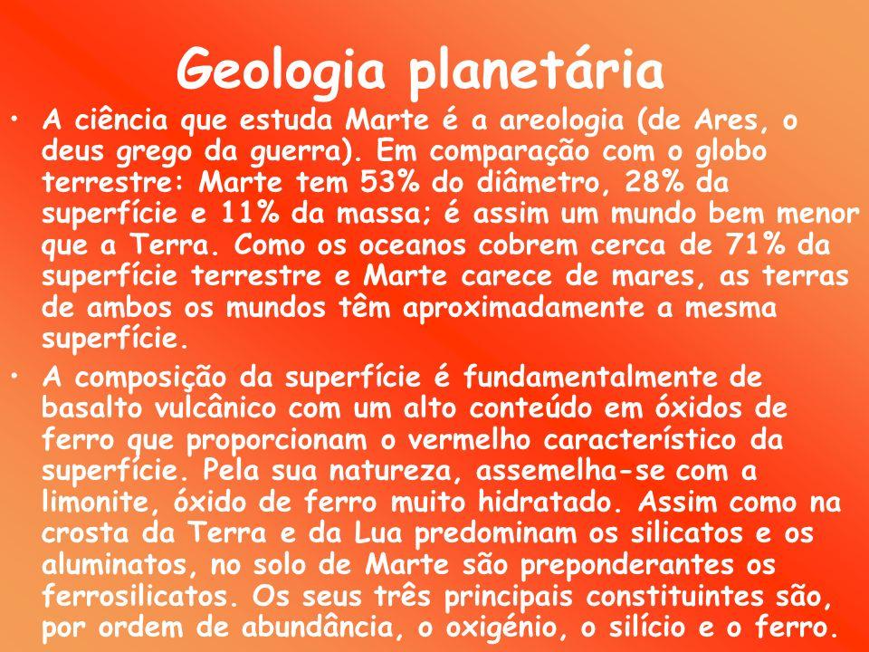 Geologia planetária A ciência que estuda Marte é a areologia (de Ares, o deus grego da guerra).