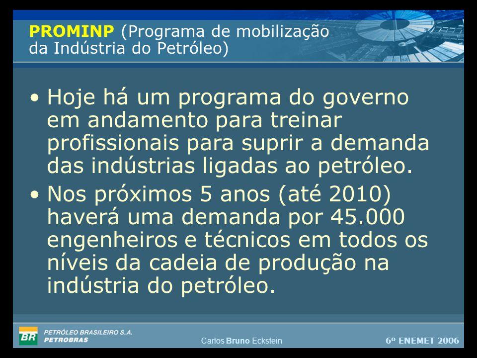 6º ENEMET 2006 Carlos Bruno Eckstein PROMINP (Programa de mobilização da Indústria do Petróleo) Hoje há um programa do governo em andamento para treinar profissionais para suprir a demanda das indústrias ligadas ao petróleo.