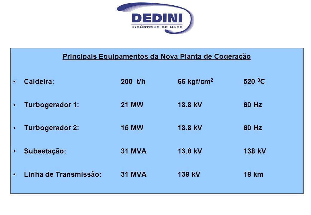 Principais Equipamentos da Nova Planta de Cogeração Caldeira: 200 t/h 66 kgf/cm 2 520 0 C Turbogerador 1:21 MW13.8 kV60 Hz Turbogerador 2:15 MW13.8 kV