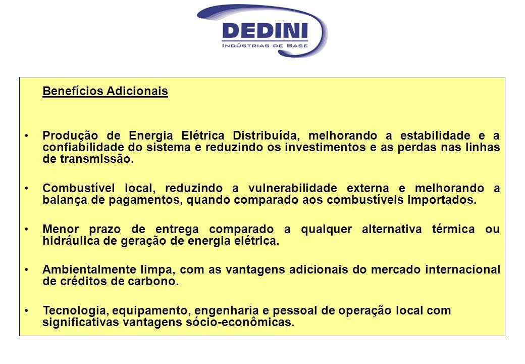 Benefícios Adicionais Produção de Energia Elétrica Distribuída, melhorando a estabilidade e a confiabilidade do sistema e reduzindo os investimentos e