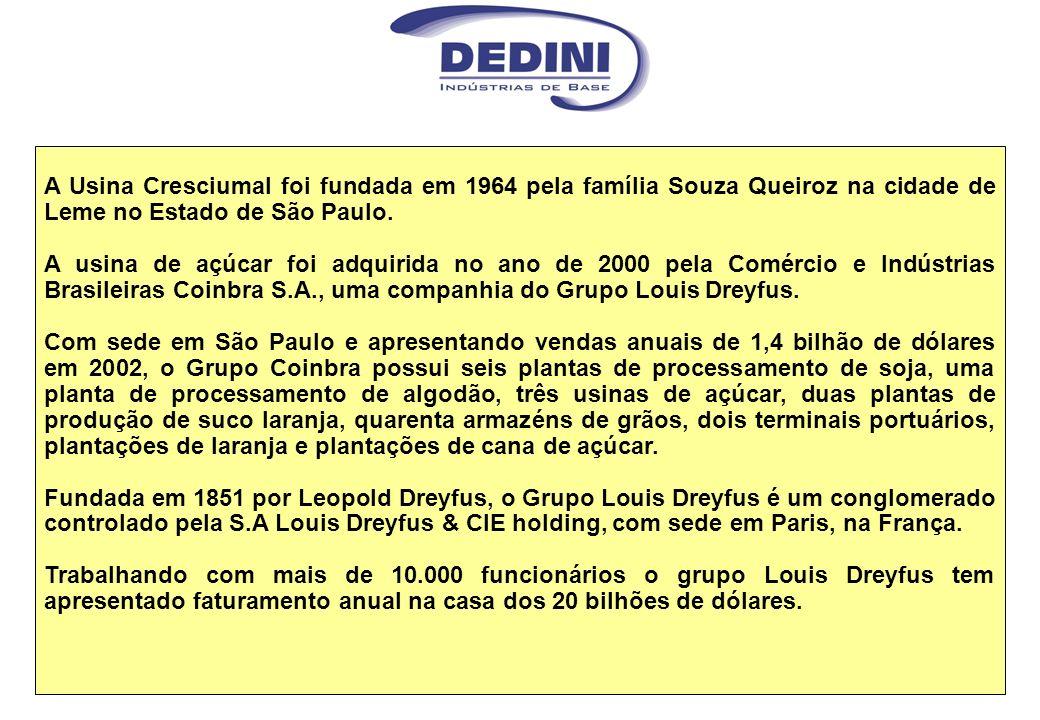 A Usina Cresciumal foi fundada em 1964 pela família Souza Queiroz na cidade de Leme no Estado de São Paulo. A usina de açúcar foi adquirida no ano de