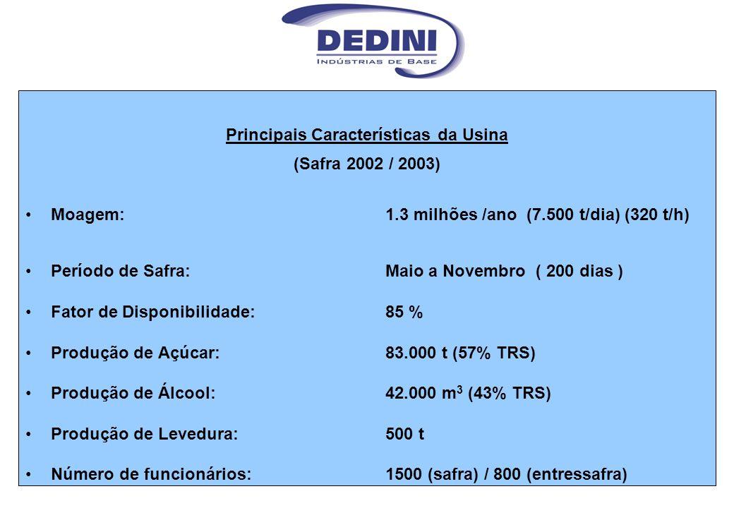Principais Características da Usina (Safra 2002 / 2003) Moagem: 1.3 milhões /ano (7.500 t/dia) (320 t/h) Período de Safra:Maio a Novembro ( 200 dias )