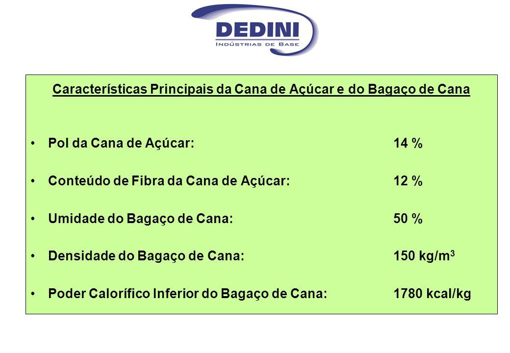 Características Principais da Cana de Açúcar e do Bagaço de Cana Pol da Cana de Açúcar: 14 % Conteúdo de Fibra da Cana de Açúcar: 12 % Umidade do Baga