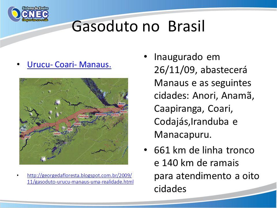 Gasoduto no Brasil Urucu- Coari- Manaus. http://georgedafloresta.blogspot.com.br/2009/ 11/gasoduto-urucu-manaus-uma-realidade.html http://georgedaflor