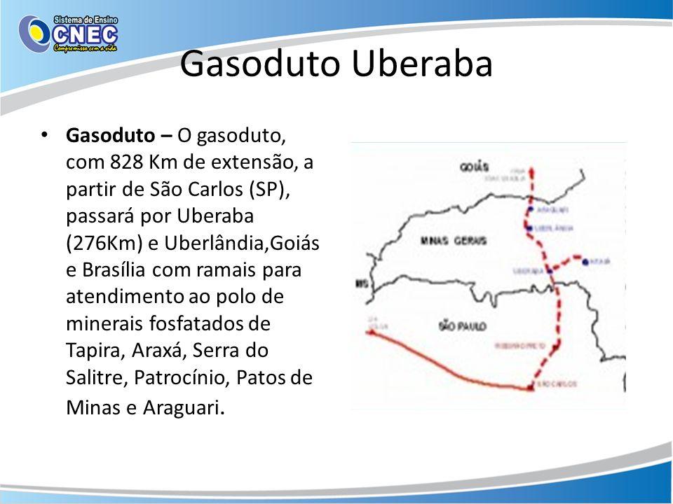 Gasoduto Uberaba Gasoduto – O gasoduto, com 828 Km de extensão, a partir de São Carlos (SP), passará por Uberaba (276Km) e Uberlândia,Goiás e Brasília