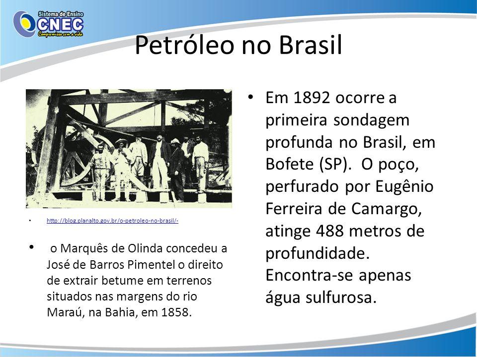 Petróleo no Brasil http://blog.planalto.gov.br/o-petroleo-no-brasil/- o Marquês de Olinda concedeu a José de Barros Pimentel o direito de extrair betu